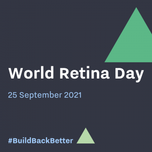 charcoal graphic with green triangle, reads World Retina Day 25 September 2021. #BuildBackBetter
